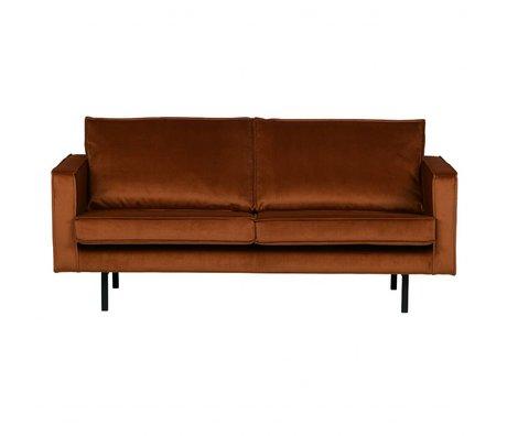 BePureHome Bank Rodeo 2,5-zits roest oranje fluweel velvet 190x86x85cm
