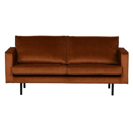 BePureHome Bank Rodeo 2,5 places velours velours orange rouille 190x86x85cm