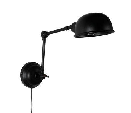 LEF collections Wandlamp Brooklyn zwart metaal 15x64x18cm