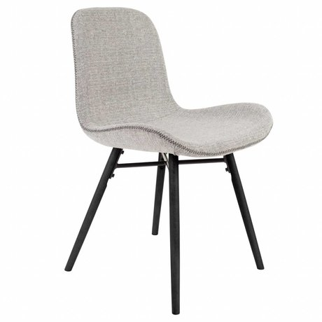 LEF collections Chair Memphis light gray textile wood 50x55x80,5cm