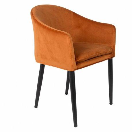 LEF collections Fauteuil Vancouver orange velours métal 57x55,5x77cm