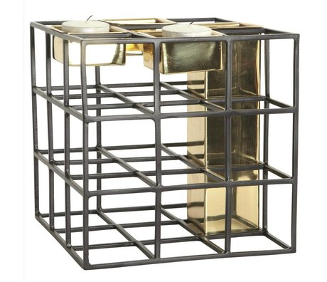 Housedoctor SQ vase candle holder metal black gold 17,5x17,5cm