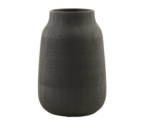 Housedoctor Groove poterie noire vase ø15x22cm