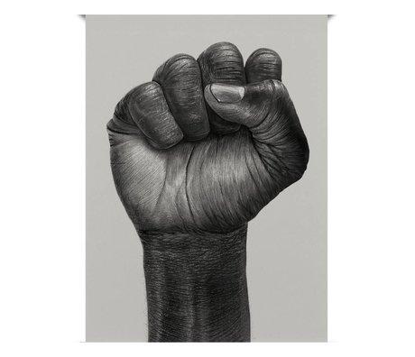 Paper Collective Poster Raised Fist schwarz aus weißem Papier 30x40cm