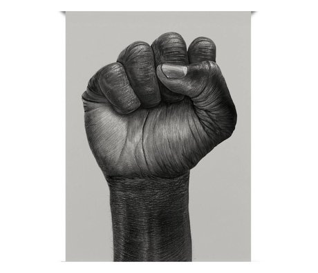 Paper Collective Poster Raised Fist zwart off white papier 30x40cm
