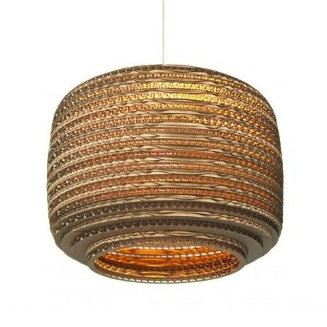 Graypants Hanging lamp Ausi 12 brown cardboard Ø28x20cm