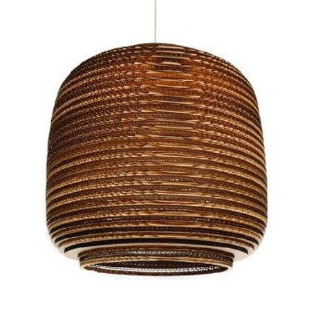 Graypants Hanging lamp Ausi 14 brown cardboard Ø39x36cm