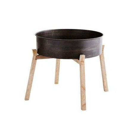 Madam Stoltz Dienblad op pootjes zwart bruin ijzer hout ∅47x14/44cm