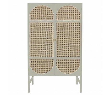 HK-living Cupboard retro webbing light gray wood cane 125x50x200cm