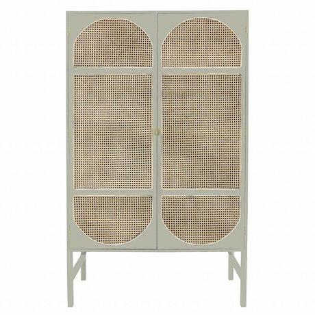HK-living Armoire rétro sangle canne bois gris clair 125x50x200cm