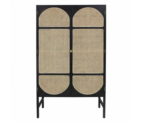 HK-living Cupboard retro webbing black wood cane 125x50x200cm
