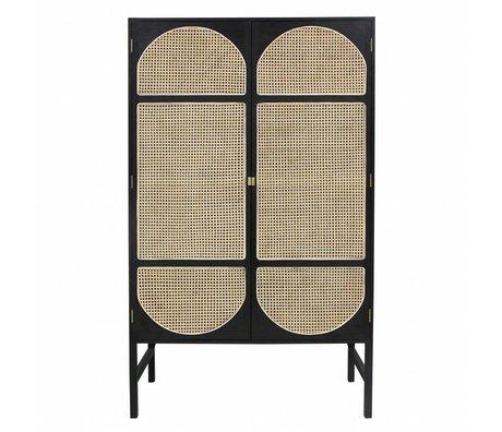HK-living Kast retro webbing zwart hout riet 125x50x200cm