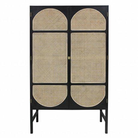 HK-living Kabinett retro Gurtband schwarz Holz Schilf 125x50x200cm
