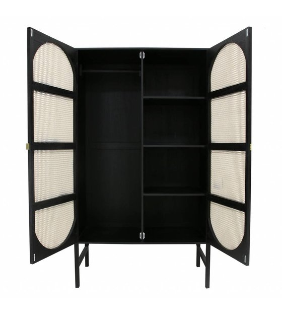 Buffetkast Zwart Bruin.Kast Retro Webbing Zwart Hout Riet 125x50x200cm