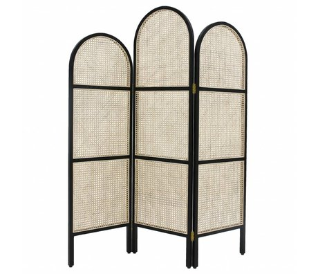 HK-living Folding screen webbing black wood reed 180x2.5x150cm