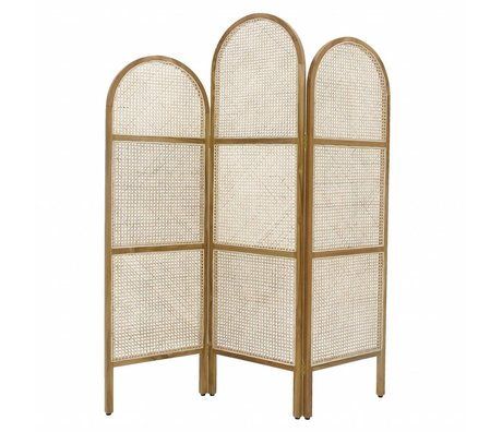 HK-living Folding screen webbing natural brown wood reed 180x2.5x150cm