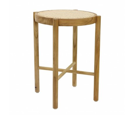 HK-living Tabouret rétro sangle naturel brun bois canne 35x35x50cm