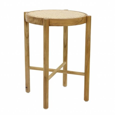 HK-living Stool retro webbing natural brown wood cane 35x35x50cm