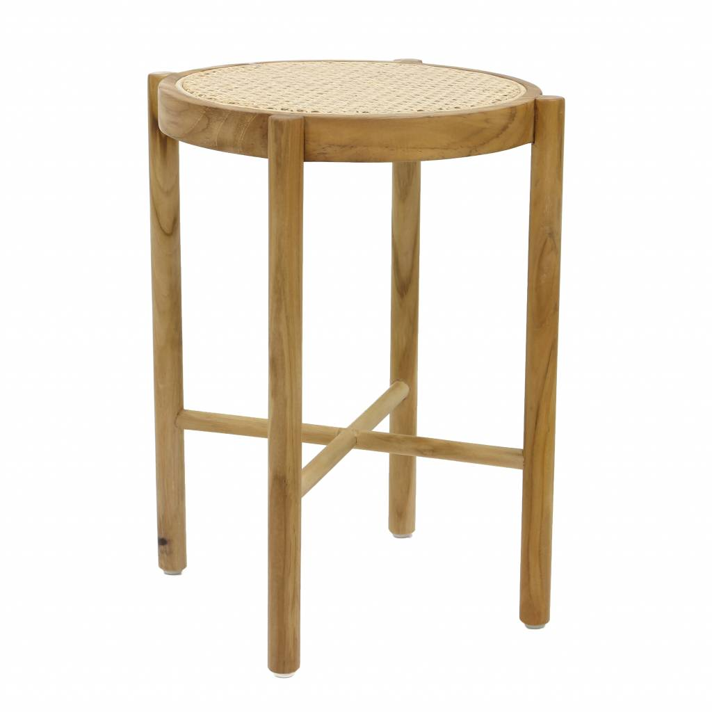 319969b4fde9f8 Für diesen Retro Hocker hat jeder einen Platz oder  Der HK Living Hocker  stammt aus der Webbing Kollektion und ist handgefertigt aus Holz und Cane.