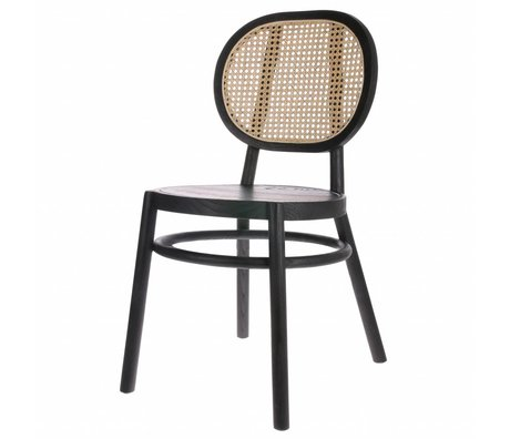 HK-living Chair retro webbing black wood cane 45x54x85cm