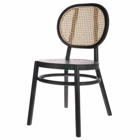 HK-living Chaise rétro sangle canne en bois noir 45x54x85cm