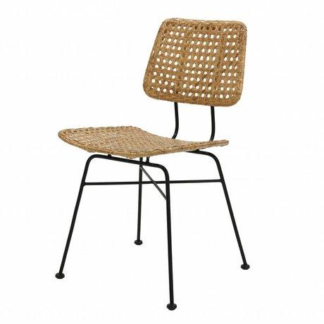 HK-living Chaise bureau rotin brun naturel 55x44x79cm