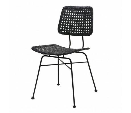 HK-living Stuhl Schreibtisch schwarz Rattan 55x44x79cm