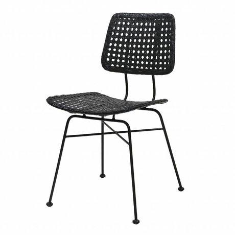 HK-living Chaise bureau en rotin noir 55x44x79cm