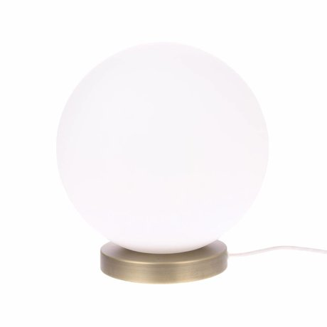 HK-living Tafellamp Bolvormig L wit glas 30cm