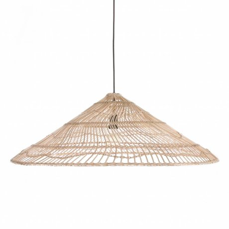HK-living Hanging lamp wicker L natural brown cane 80x80x26cm