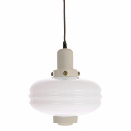 HK-living Hanglamp M crème wit glas 24x24x25cm