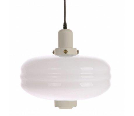 HK-living Hanglamp L crème wit glas 38x38x35cm