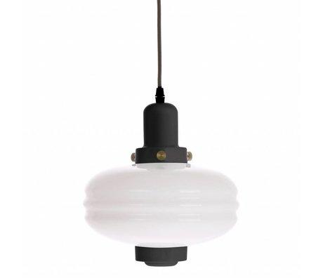 HK-living Hanglamp M zwart wit glas 24x24x25cm