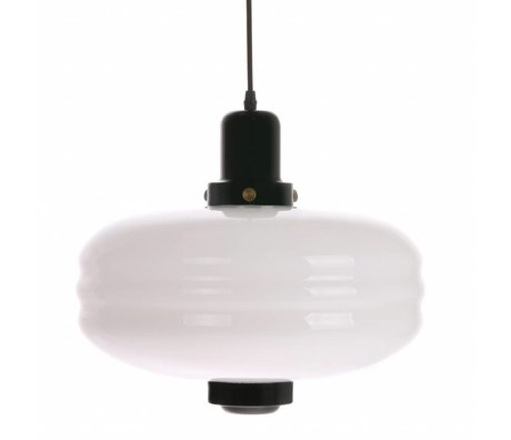 HK-living Hanglamp L zwart wit glas 38x38x35cm