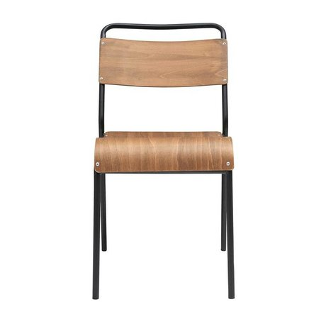 Housedoctor Chaise de salle à manger originale en fer brun 41,5x41x47cm
