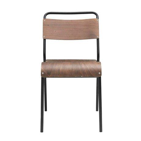 Housedoctor Eetkamerstoel Original donker bruin hout ijzer 41,5x41x47cm