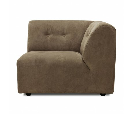 HK-living Sofa Vint element C right corner brown corduroy 95x97x74cm