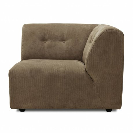 HK-living Sofa Vint Element C rechte Ecke brauner Cord 94x94x74cm