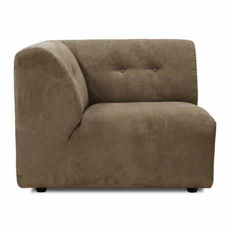 HK-living Sofa Vint element A left corner brown corduroy 94x94x74cm