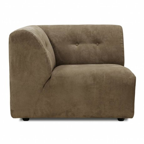 HK-living Sofa Vint Element Eine linke Ecke brauner Cord 94x94x74cm
