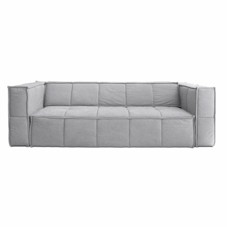 HK-living Sofa Cube 4-seater light gray canvas 250x102x75cm