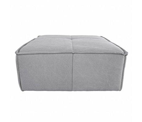 HK-living Hocker Cube hellgraue Leinwand 80x69x43cm