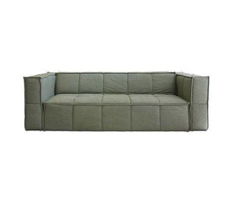HK-living Sofa Cube 4-Sitzer Armee grün Leinwand 250x102x75cm