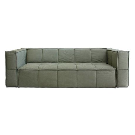 HK-living Sofa Cube 4-seat army green canvas 250x102x75cm