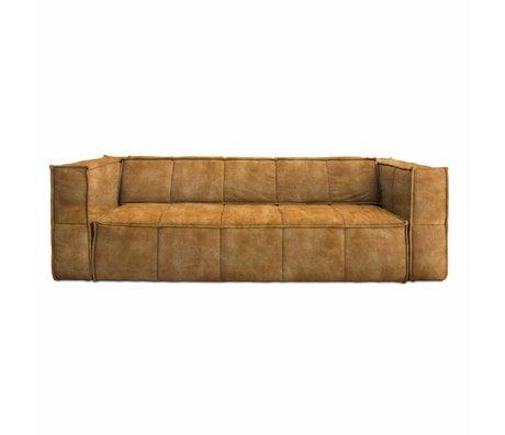 HK-living Sofa Cube 4-seater brown vintage velvet 250x102x75cm