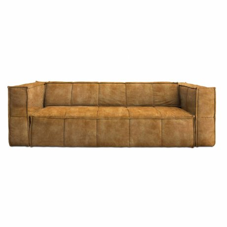 HK-living Sofa Cube 4-Sitzer braun Vintage Samt 250x102x75cm