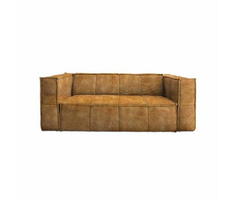 HK-living Sofa Cube 3-Sitzer braun Vintage Samt 210x102x75cm
