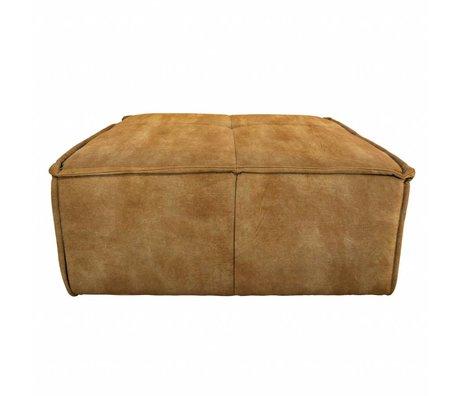 HK-living Hocker Cube brown vintage velvet 80x69x43cm