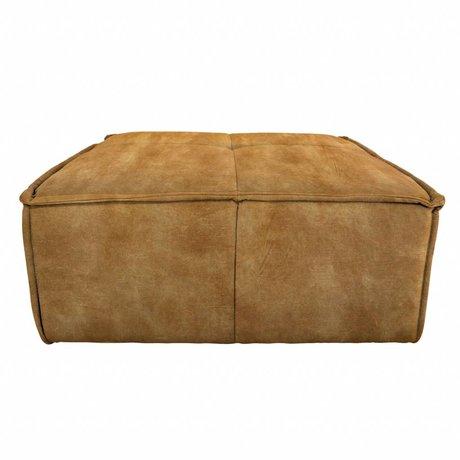 HK-living Hocker Cube brun vintage velours 80x69x43cm
