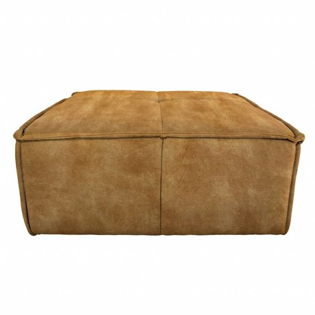 HK-living Hocker Cube velours vintage marron 80x69x43cm